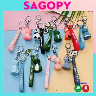Móc khóa khủng long cute treo balo, cài túi xách tote, móc khóa đôi hình gấu bông dễ thương đa năng anime pubg giá rẻ thumbnail
