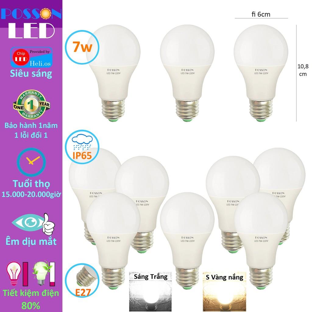 Sỉ 100 Bóng đèn Led 7w bup tròn A60 bulb tiết kiệm điện kín chống nước  Posson LB-7x - Bóng đèn