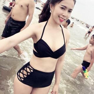 ĐỒ BƠI NỮ Bikini 2 mảnh chéo đen ( Ảnh chụp thật từ khách) mới nhất