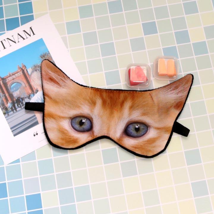 Miếng bịt mắt ngủ 3D tiện dụng cho người làm văn phòng hình mèo dễ thương (tặng kèm 2 cặp nút tai giảm tiếng ồn) MBM41