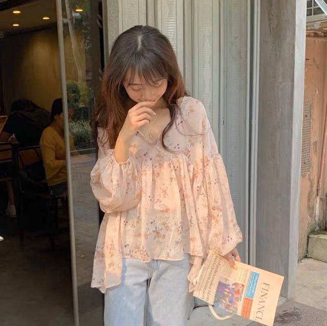 [HÀNG ORDER] Áo baby doll hoa nhí tay bồng cổ v siêu xinh ( Có ảnh thật )