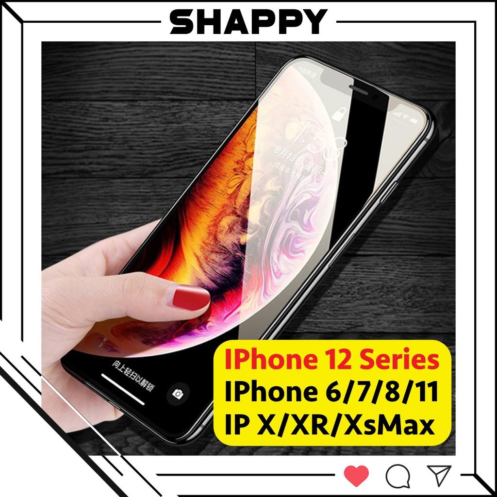 Kính Cường Lực 10D Full Bóng IPhone 12/12Pro/Max/Mini Chống Bụi Cảm Biến [Shappy Shop
