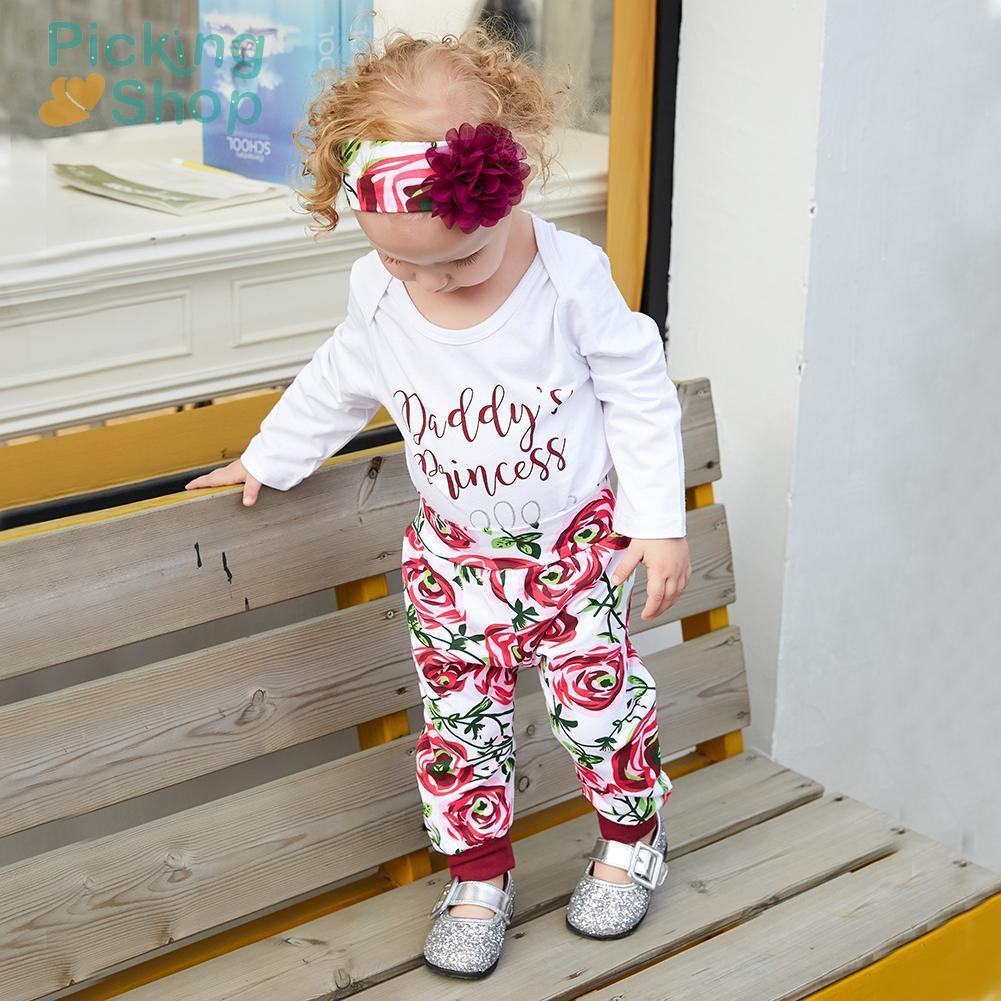 4pcs/Set Autumn Baby Clothes Letters Print Cotton Romper Pants Headband Hat