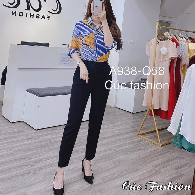 Quần bagy nữ công sở cao cấp đẹp Cúc Fashion Q58 quần baggy cạp vắt