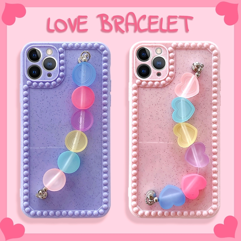 Love Heart Dot Smiley Wrist Chain phone case For iPhone SE2 11 Pro MAX XS XR 7 8 Plus Full Coverage soft case
