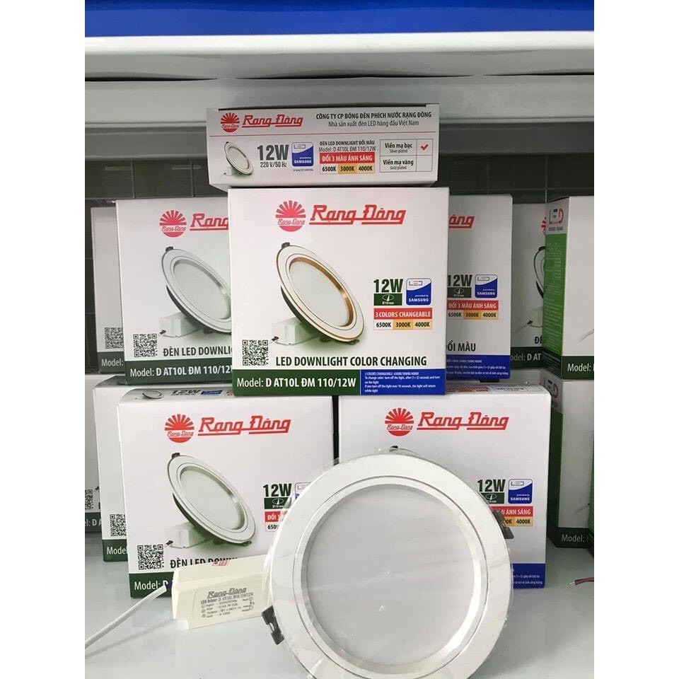 Giá rẻ số 1_Đèn LED Âm trần Downlight Đổi màu 3 chế độ Rạng Đông 12W D AT10L ĐM 110/12W Viền trắng , viền vàng viền bạc