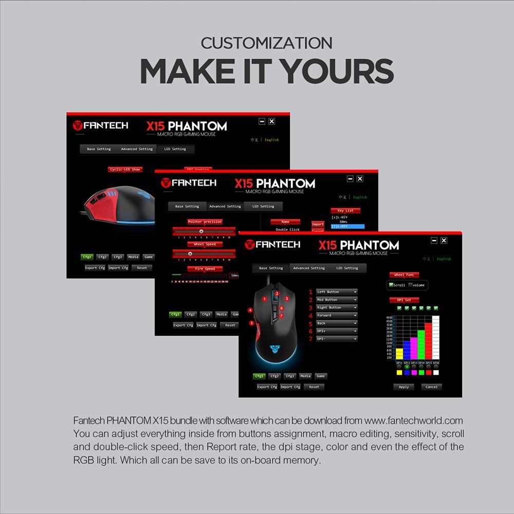 Chuột chơi game Fantech X15 PHANTOM 4800DPI macro LED RGB 7D đa chức năng