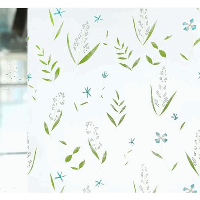 Giấy dán kính hoa cỏ xanh- khổ rộng 45cm