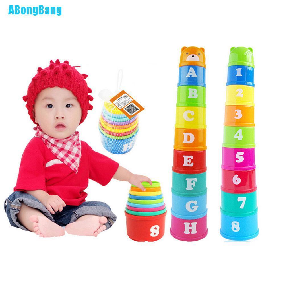 Bộ đồ chơi xếp chồng cốc nhựa màu cầu vồng cho bé