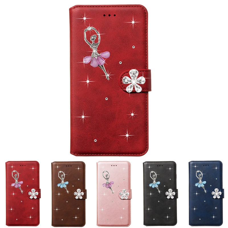 Oppo A8/ Oppo A31 Bling Dancing Girl Flip Case Stand Phone Casing leather Wallet Cover