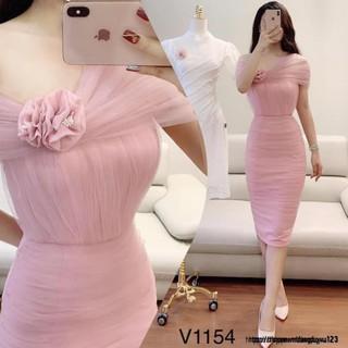 Đầm ôm tôn dáng ngực hoa V1154 Mie Design kèm ảnh thật