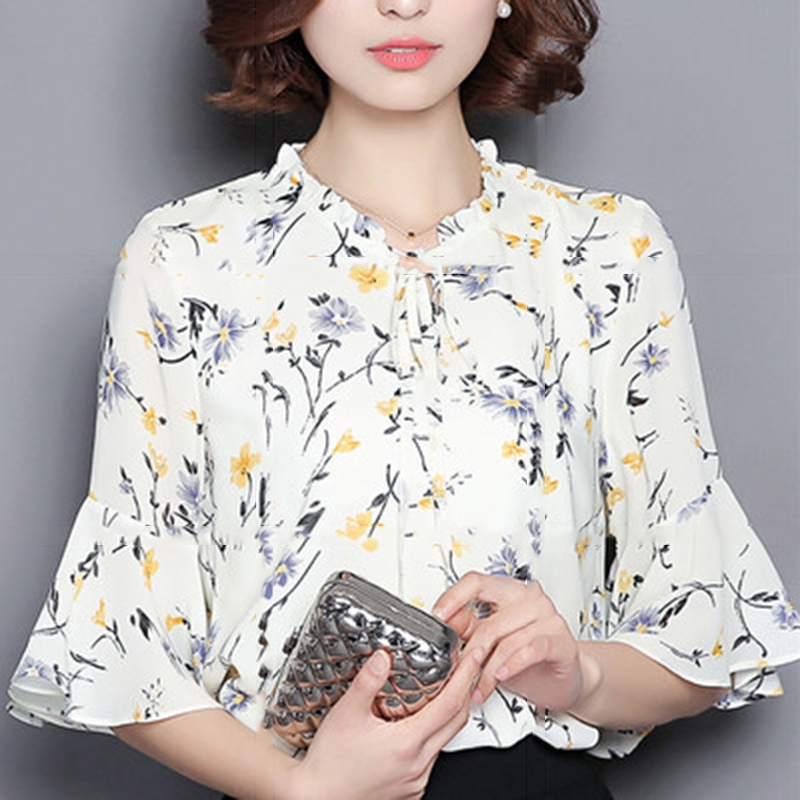 Back To Search Resultswomen's Clothing Chic Ol Style Women Ladys Chiffon T Shirt Bandage Round Neck Shirt Blouse Tops