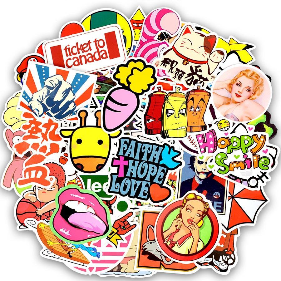 Set 200 sticker nhiều kiểu dáng dán trang trí thú vị