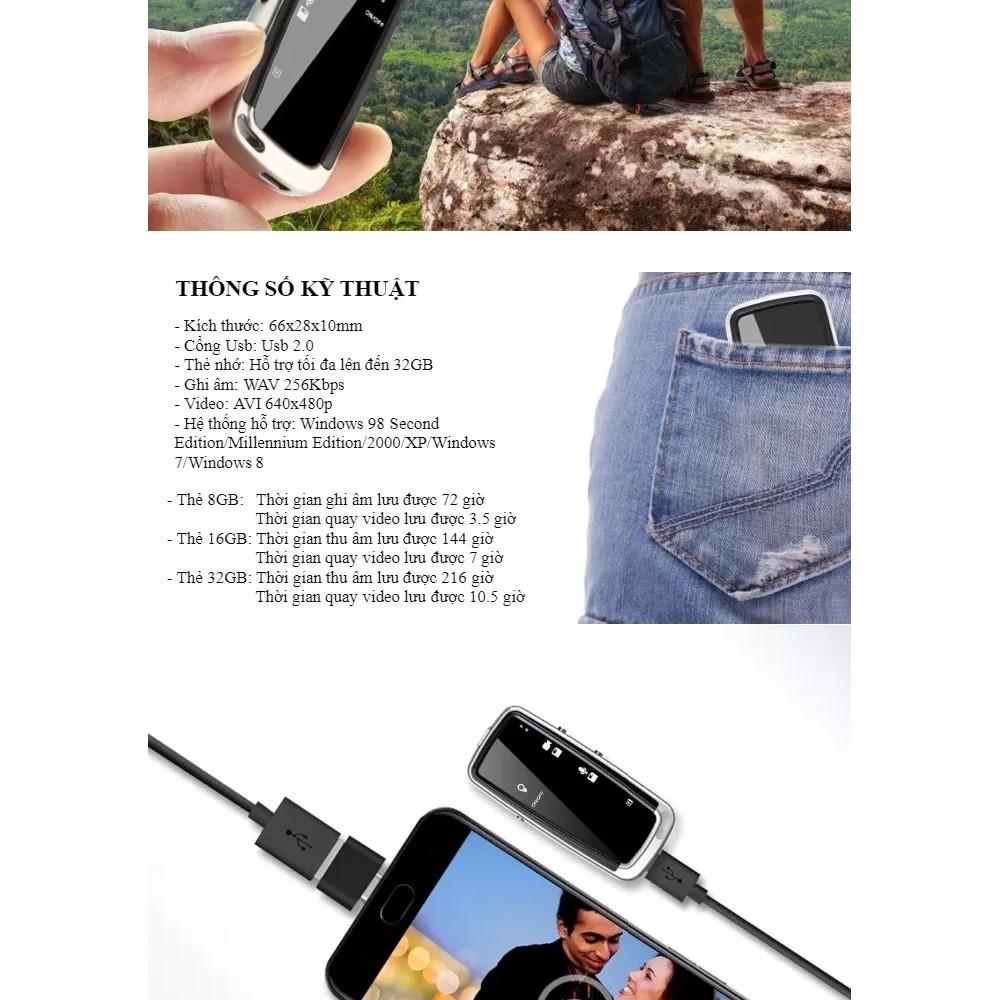 Máy ghi âm kiêm camera mini hình móc khóa DVR 720P