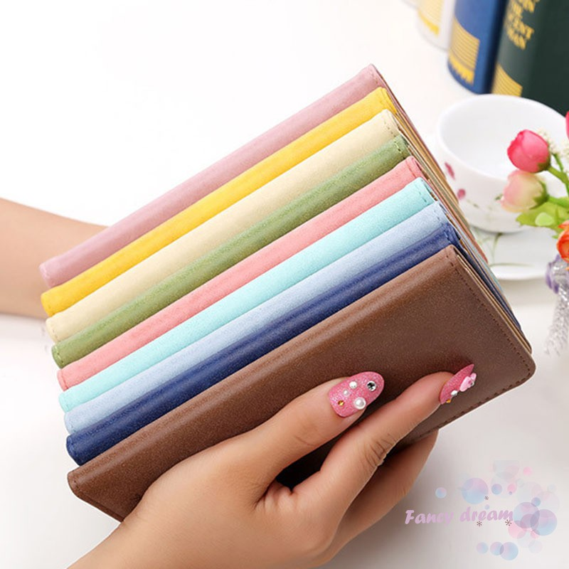 ✓FD New Fashion Vintage Women Purse Female Slim Long Wallet Card Holder Bag Matte Leather Wallets