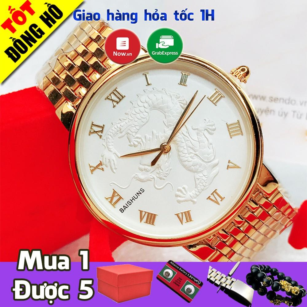 Đồng hồ nam Baishuns mặt rồng vàng thiết kế độc đáo, máy Nhật, chống nước chống xước, cực nam tính