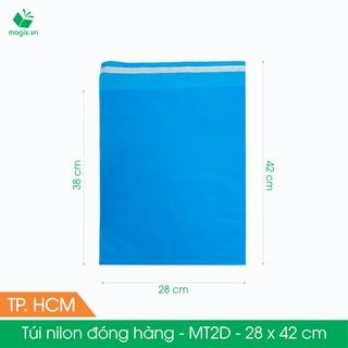 MT2D - 28x42 cm - Túi nilon gói hàng - 100 túi niêm phong đóng hàng màu xanh dương thumbnail