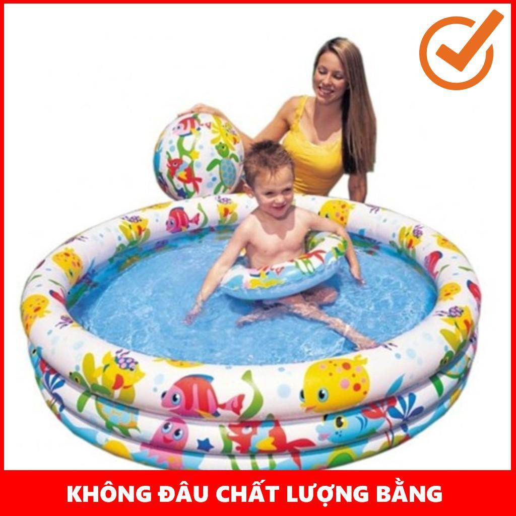 [GIÁ SỐC]  Bộ bể bơi Intex 3 tầng kèm phao bơi và bóng 1m32x28cm