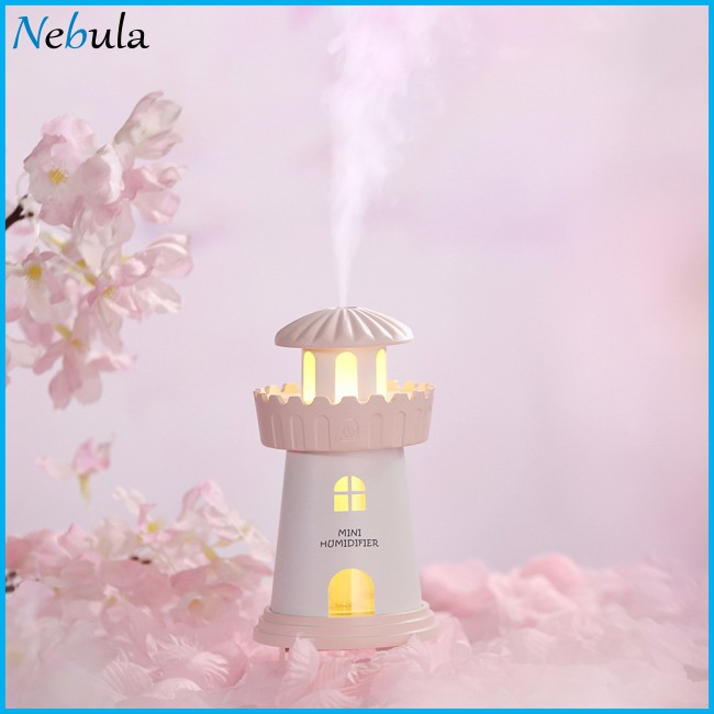 Mini Mute USB Charging Lighthouse Shape Air Humidifier with Night Light