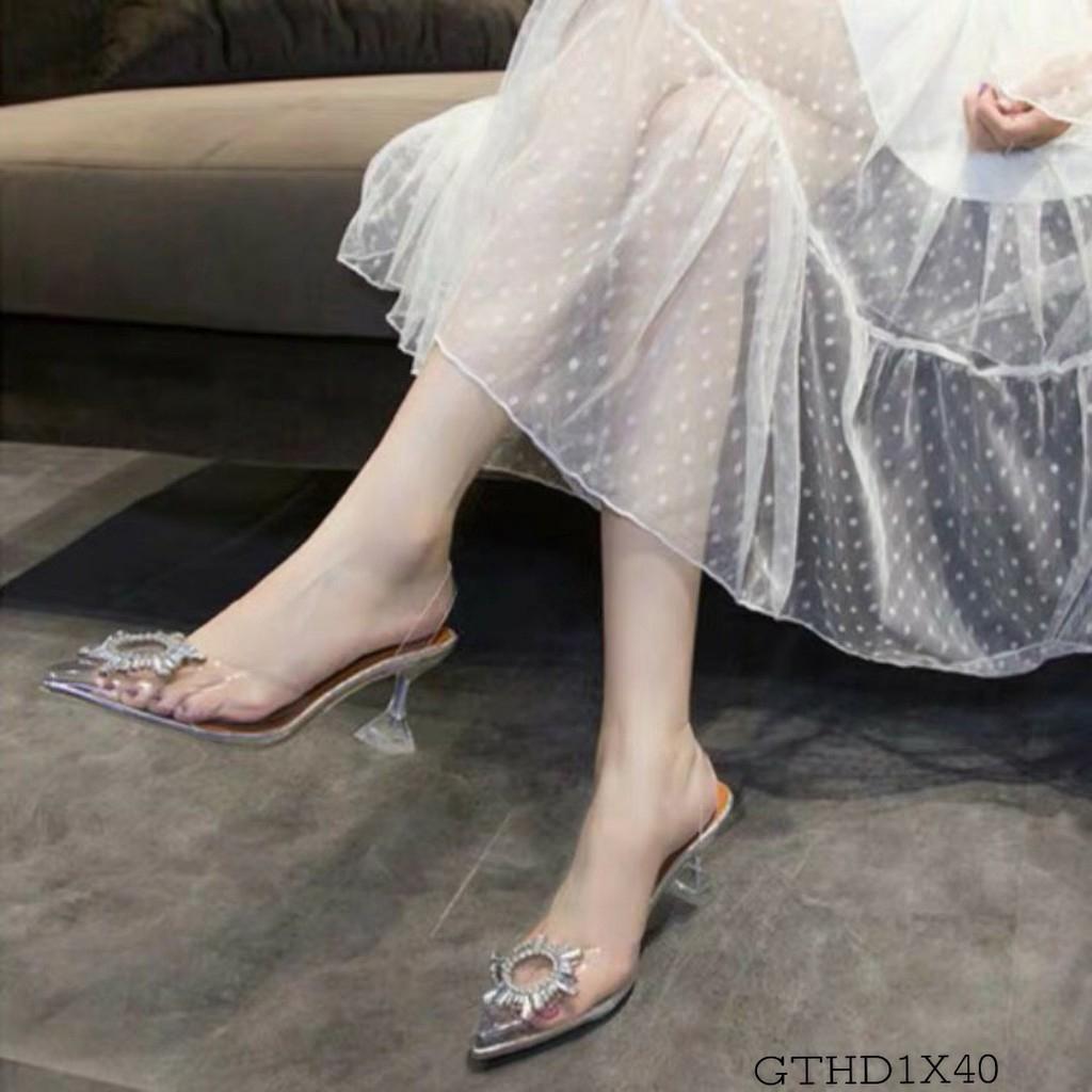 Sandal Cao Gót 7 Phân, 9 PHân Hở Mũi Quai Trong Mũi Hoa Đá Tròn Sang