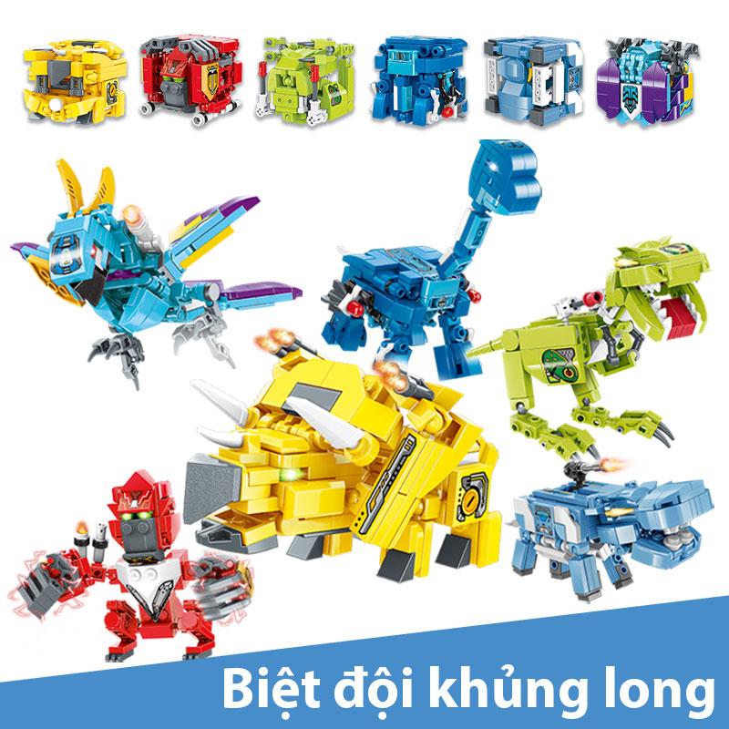 Đồ chơi lắp ghép kiểu Lego Mô hình Biệt đội khủng long chất liệu nhựa ABS