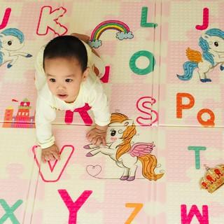 Thảm xốp XPE 2 mặt phủ Silicone Hàn Quốc mẫu đẹp chống thấm tuyệt đối, chống ngã, cho bé tập bò kèm túi 1m8- 2m loại 1