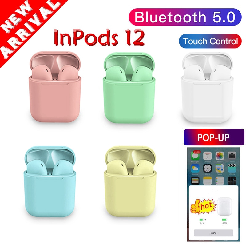 pop up Inpods 12 Bluetooth Earphone 5.0 Wireless Headphone Sport Earbud TWS Headset Touch Control