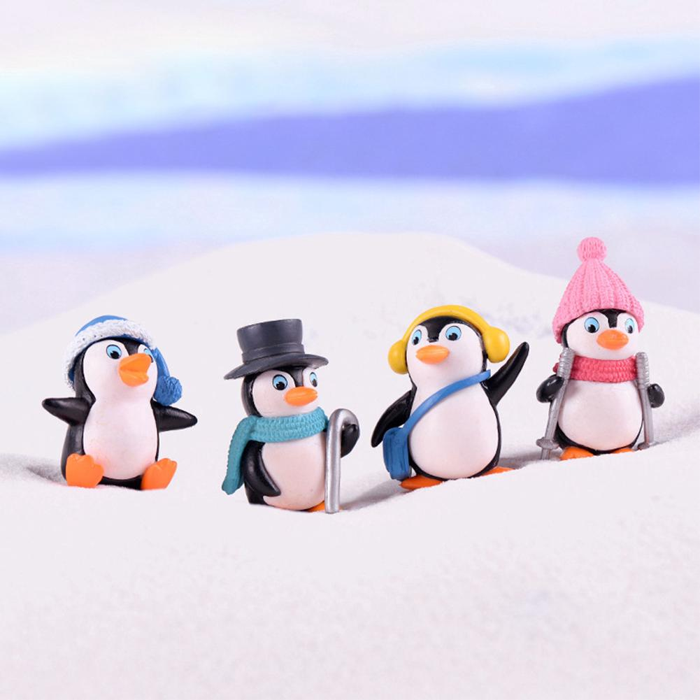 4 Pcs DIY Crafts Toy Party Christmas Figures Ornament Winter Penguin Figurine