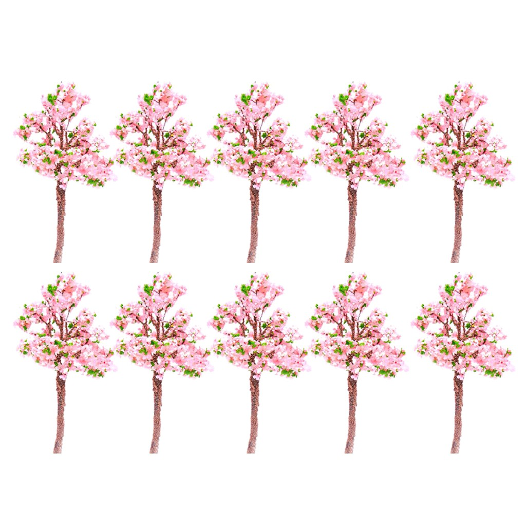 Model Tree Train Pink Flowers Set Scenery Landscape OO HO - 10PCS