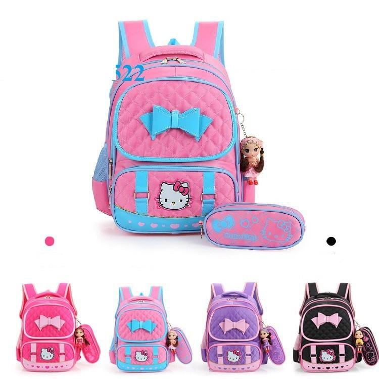 Balo đi học bé gái chống gù lưng Hello Kitty kèm hộp bút và búp bê-màu đen