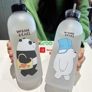 [FREESHIP ] Bình Đựng Nước 1000ml Hàn Quốc ❤️❤️ Nhựa Cao Cấp ❤️❤️ Hình Gấu Bear Cute Kèm Phụ Kiện 7 món - RICKSTORE
