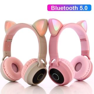 Tai Nghe Bluetooth 5.0 Hình Tai Mèo Có Đèn Led Chống Tiếng Ồn Hỗ Trợ Thẻ Nhớ Tf