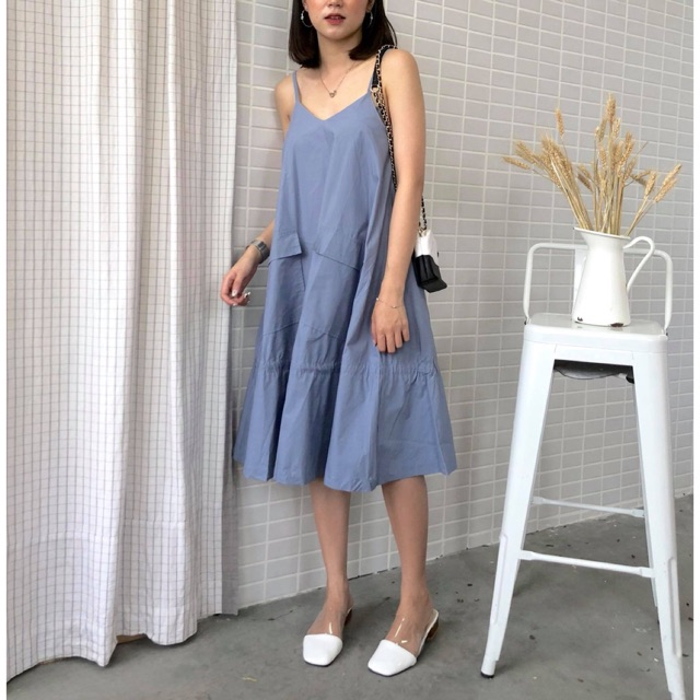 Váy 2 dây kaki 2 túi chéo to - B899