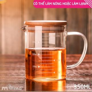 1 Ly thủy tinh Glass Cup chia vạch đo, đong thể tích, có nắp gỗ đậy đậy để đong nước, làm bánh, pha trà_HL103