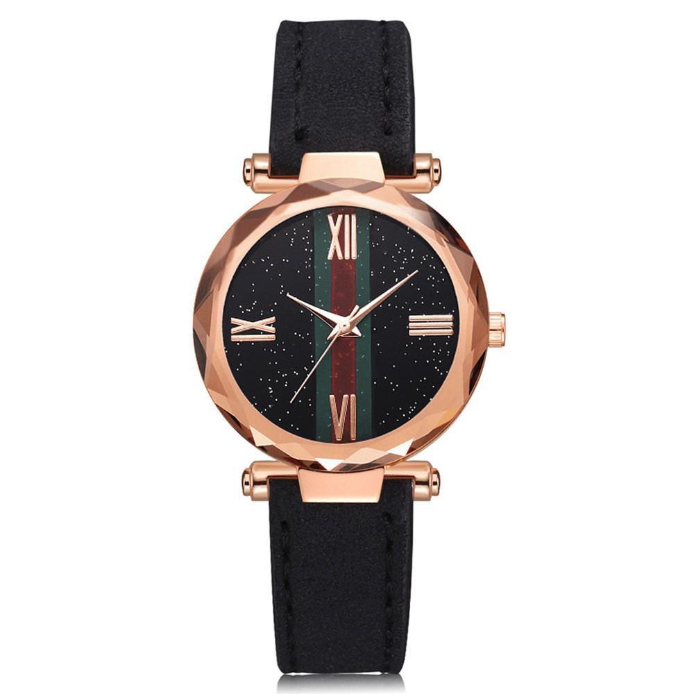 Đồng hồ nữ dây da mặt tròn chạy thạch anh sang trọng thời trang