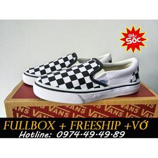 [MIỄN PHÍ SHIP + FULLBOX + TẶNG VỚ XỊN] Giày Vans Lười Caro hàng chuẩn Việt Nam, có video shop tự quay nhé