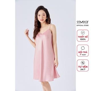 Váy ngủ 2 dây 92WEAR thiết kế vải lụa dáng suông NDA2061 thumbnail