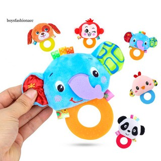 BOYS Plush Dog Animal Baby Hand Graping BB Rattle Teether Educational Teething Toy