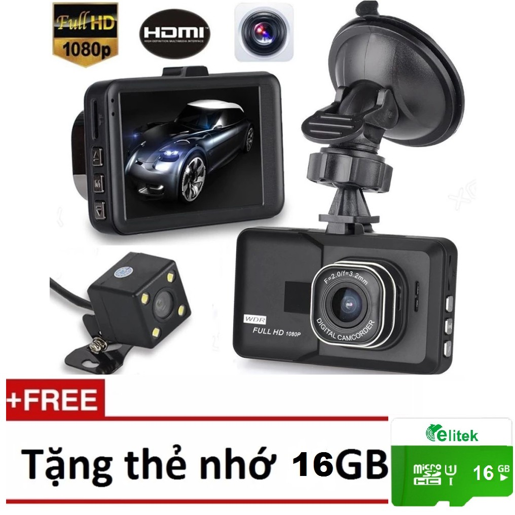 Camera Hành Trình Kiêm Camera Lùi 2580 Tặng Thẻ Nhớ 16GB