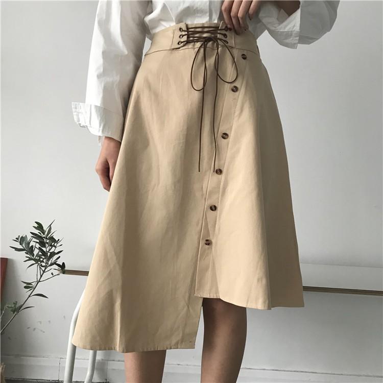 chân váy dài màu trơn thời trang vintage