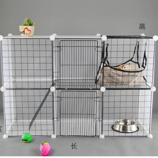 💥Set Chuồng Quây Thú Cưng Chó Mèo 2 tầng. Tặng Kèm Chốt Lắp-thang lưới - võng cho mèo