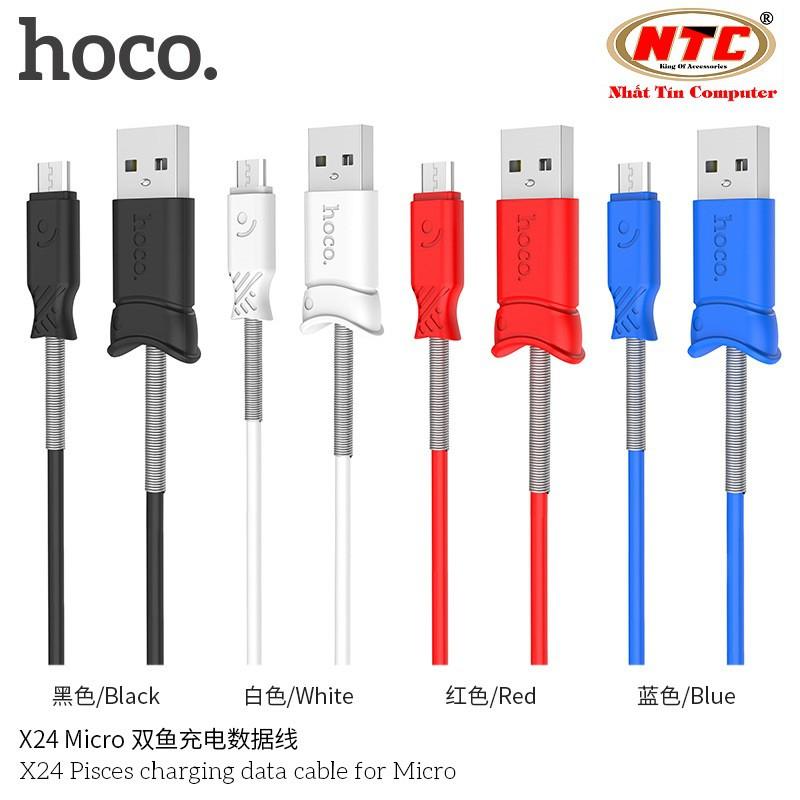 Cáp sạc và truyền dữ liệu Hoco X24 cổng microUSB (2.4A - dài 1M - hỗ trợ sạc nhanh) - Hãng phân phối