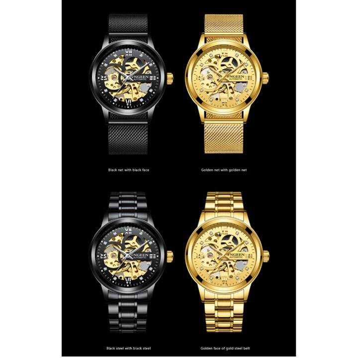 Đồng hồ thời trang cơ tự động - lộ cơ (skeleton) nam dây thép FNGEEN PKHRFNG004 (vàng)