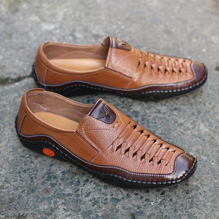 Giày tây nam - giày lười da bò nam R05 bảo hành 12 tháng