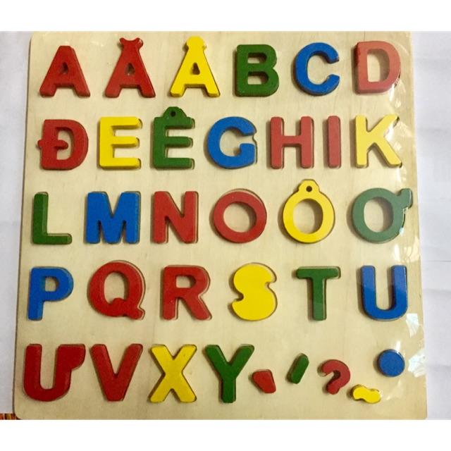 Bảng chữ cái tiếng Việt in hoa nổi bằng gỗ - đồ chơi giáo dục cho bé