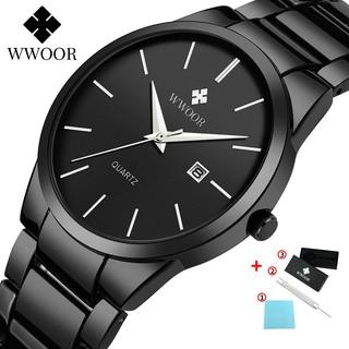 Đồng hồ WWOOR 8875 thời trang phong cách thể thao chống nước bằng kim loại thép không gỉ kiểu máy thạch anh cho nam