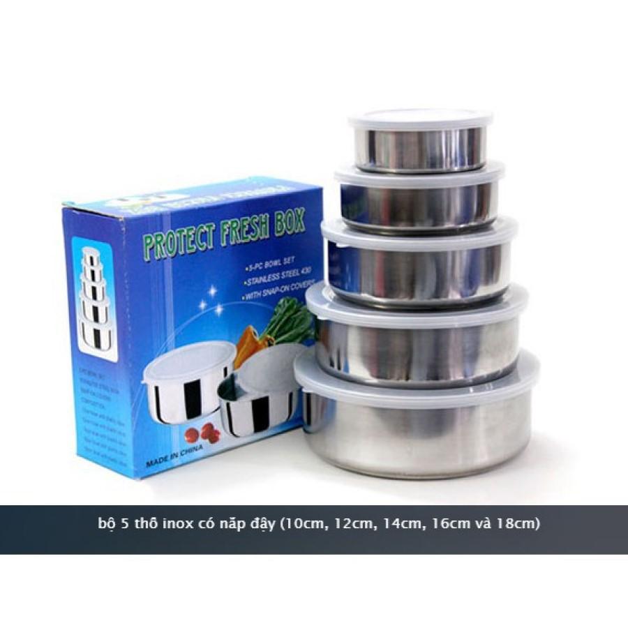 Bộ Thố inox 5 cái dùng đa năng - Có nắp đậy tiện dụng