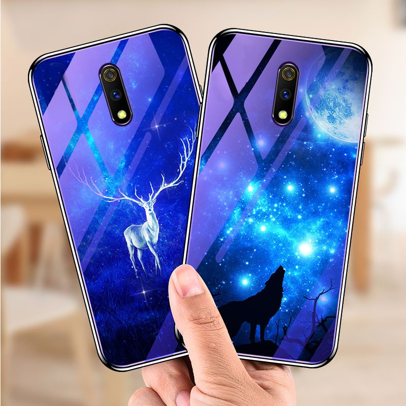 OPPO Realme X Glass Case Hard Blue Ray Art Casing Covers