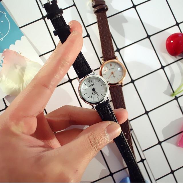 Đồng hồ thời trang nữ RaTe mặt nhỏ tròn tuyệt đẹp, dây da mềm, đeo êm tây ( Mã: ARA02 )