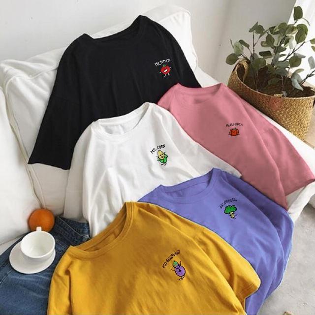 Áo thun nữ tay lỡ freesize - phông form rộng dáng Unisex, mặc lớp, nhóm, cặp, lớp thêu hình rau củ